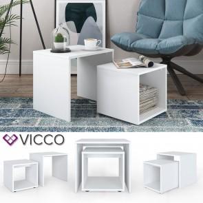 VICCO Couchtisch Beistelltisch Set weiß
