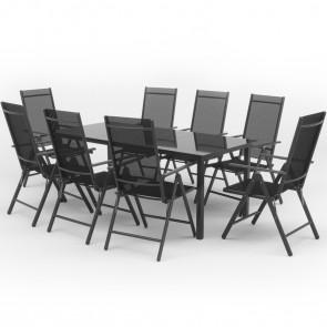 Alu Gartenmöbel 8+1 Sitzgruppe 190er Tisch Gartengarnitur Anthrazit