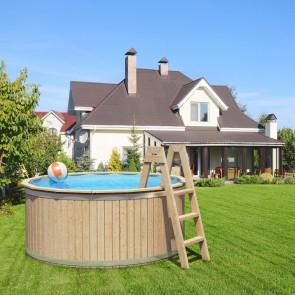 CARL Holzpool Massivholz mit Poolfolie und Vollholzleiter 240x107cm