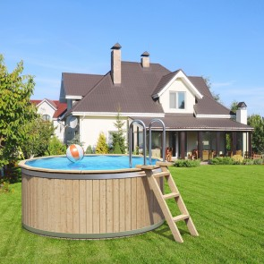 CLEMENS Holzpool Massivholz mit Poolfolie Swimmingpool 241x107cm