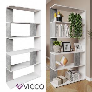 VICCO Raumteiler Raumtrenner Bücherregal Standregal Aktenregal Hochregal Aufbewahrung Regal Beton (groß)