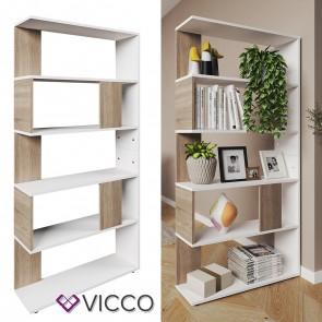 VICCO Raumteiler Raumtrenner Bücherregal Standregal Aktenregal Hochregal Aufbewahrung Regal Sonoma Eiche (groß)