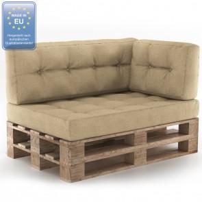Palettenkissen Set Sitz+Rücken+Seitenkissen Beige