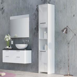 VICCO Badschrank KIKO 195 x 30 cm Weiß Hochglanz