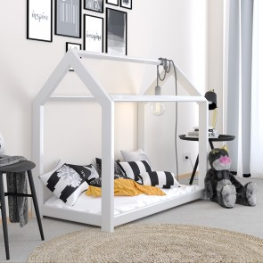 VICCO Kinderbett Kinderhaus weiß 70x140 cm Holz Spielbett Hausbett mit Matratze