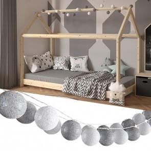VICCO Lichterkette Cotton Balls Girlande weiß und grau 310 cm