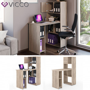 VICCO Schreibtisch Regalkombination 114 x 60 cm Eiche Sonoma