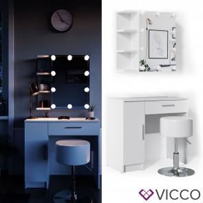 Vicco Schminktisch Fynnia weiß mit Hocker und LED-Lichterkette