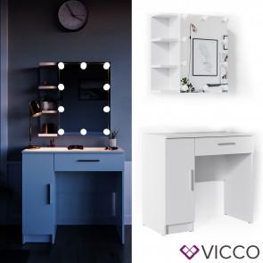 Vicco Schminktisch Fynnia weiß mit LED-Lichterkette