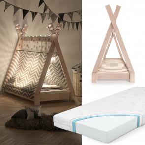 VITALISPA Kinderbett 70x140cm Natur inkl. Kindermatratze mit Komfortschaum-Kern