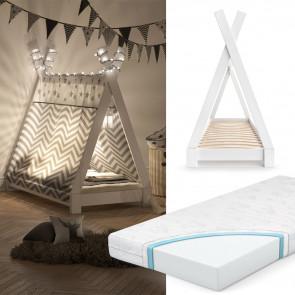 VITALISPA Hausbett TIPI  70x140cm Weiß inkl. Kindermatratze mit Komfortschaum-Kern