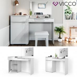 Vicco Schminktisch Little Lilli weiß mit Bank und LED-Lichterkette
