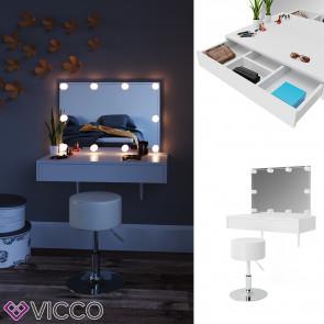 Vicco Schminktisch Alessia weiß mit Hocker und LED-Lichterkette