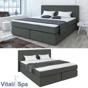 VitaliSpa Boxspringbett 180x200 cm Grau