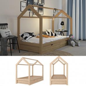 VITALISPA Hausbett WIKI 90x200cm mit Schubladen Holz Natur