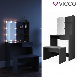 Vicco Schminktisch Dekos Schwarz inklusive Bank und LED-Lichterkette