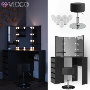 Vicco Eckschminktisch Arielle Schwarz inklusive Hocker und LED-Lichterkette