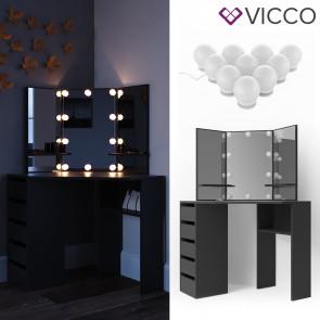 Vicco Eckschminktisch Arielle Spiegel Schwarz inklusive LED-Lichterkette