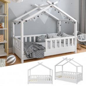 VITALISPA Hausbett DESIGN 70x140cm Holz Weiß Zaun