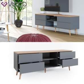 Vicco Lowboard Corona TV Schrank Kommode in grau, Scandi-Look