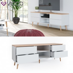 Vicco Lowboard Corona TV Schrank Kommode in weiß, Scandi-Look