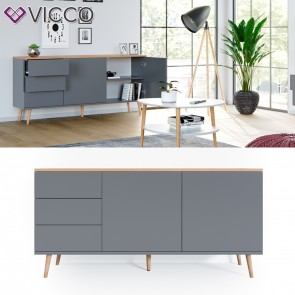 Vicco Sideboard Corona Kommode Schrank in grau, Scandi-Look