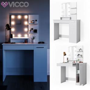 VICCO Schminktisch JULIA Weiß mit LED-Lichterkette
