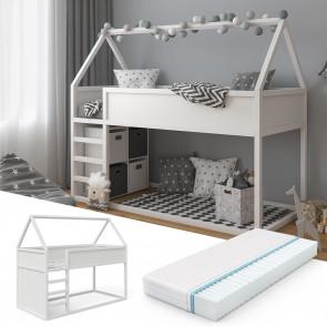 VITALISPA Hausbett Pinocchio in weiß + Matratze