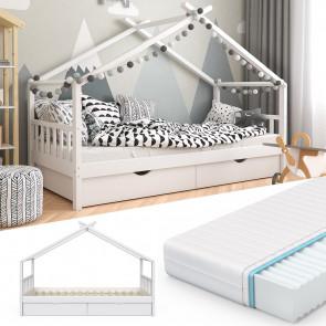 VITALISPA Kinderbett mit Schubladen, Lattenrost & Matratze