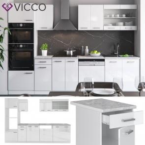 VICCO Küche R-Line 300 cm Weiß hochglanz + Arbeitsplatten