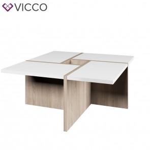 VICCO Couchtisch Domino Sonoma Eiche Weiß 80 cm