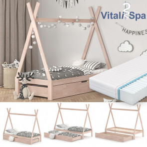 VITALISPA Hausbett TIPI 90x200 cm Natur + Matratze + Bettschublade