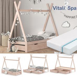 VITALISPA Hausbett TIPI 90x200 cm Natur + Matratze + 2 Schubladen