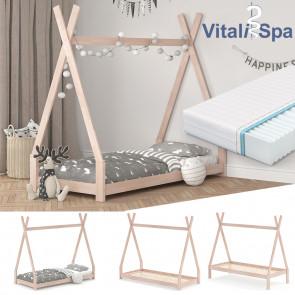 VITALISPA Hausbett TIPI 90x200 cm Natur + Matratze
