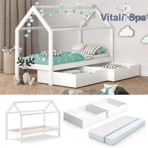 VITALISPA Hausbett WIKI MDF + Schubladen + Matratze