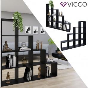 Vicco Treppenregal mit 10 Fächern Schwarz