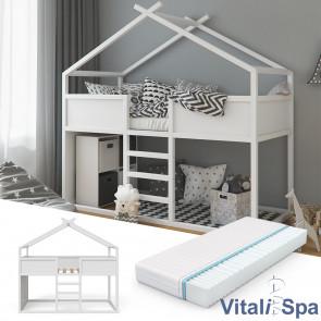 VITALISPA Hausbett MERLIN in weiß + Matratze