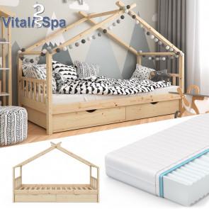 VITALISPA Kinderbett DESIGN Klarlack + Matratze
