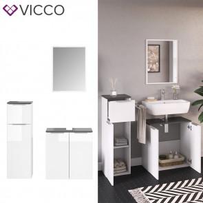 VICCO Badmöbel-Set OTIS Weiß Unterschrank Spiegel Midischrank