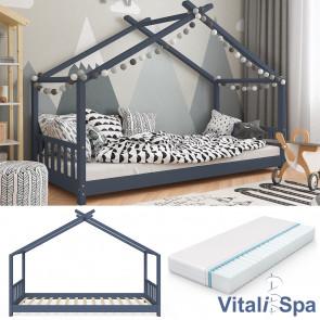 VITALISPA Kinderbett DESIGN Anthrazit 90x200cm + Matratze