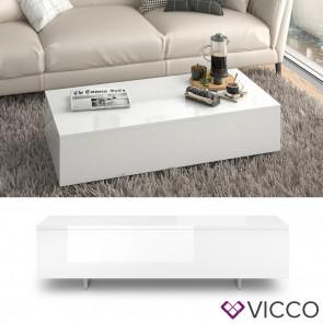 VICCO Couchtisch RIVER Weiß Hochglanz 115 cm