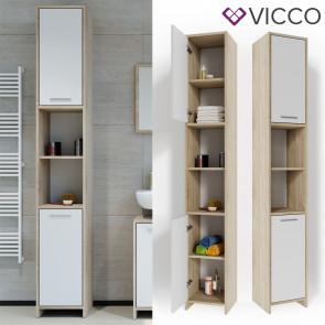 VICCO Badschrank KIKO 195 x 30 cm Sonoma Weiß