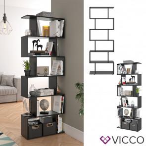 VICCO Raumteiler LEVIO 6 Fächer Schwarz