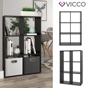 VICCO Raumteiler 6 Fächer Schwarz