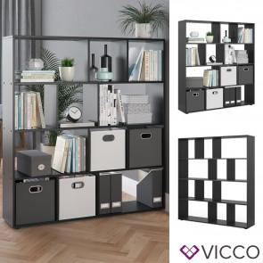 VICCO Raumteiler Pilar 12 Fächer Schwarz