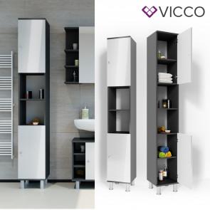 VICCO Badschrank FYNN 190 x 30 cm Anthrazit Weiß