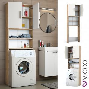 VICCO Waschmaschinenschrank Weiß Sonoma Eiche