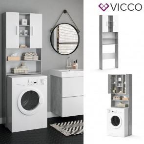 VICCO Waschmaschinenschrank LUIS Beton Weiß