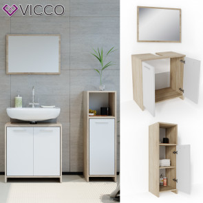 VICCO Badmöbel Set KIKO 3 Teile Sonoma Weiß