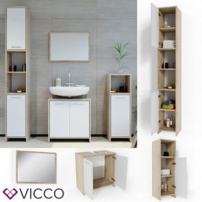 VICCO Badmöbel Set KIKO 4 Teile Sonoma Weiß